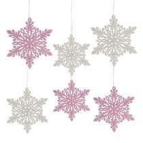Schneeflocke Holz 8 12cm Rosa Weiss 12st Preiswert Online Kaufen