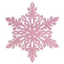 Schneeflocke Holz 8-12cm Rosa/Weiß 12St.