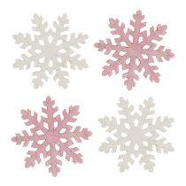 Schneeflocke 4cm Pink/Weiß mit Glitter 72St