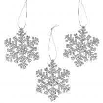 Schneeflocke Ø8cm Silber mit Glitter 12St