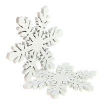 Schneeflocken aus Holz Weiß Ø3,7cm 48St