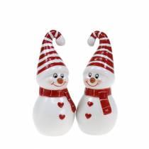 Weihnachtsdeko Schneemann Keramik 10cm Rot, Weiß 2St