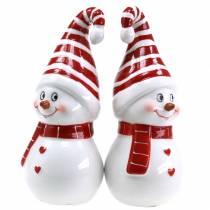 Weihnachtsfigur Schneemann mit Zipfelmütze Keramik 15cm Rot, Weiß 2St