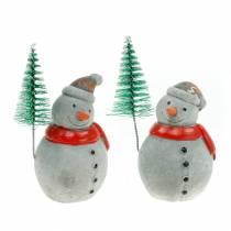 Weihnachtsfigur Schneemann mit Tanne Beton Grau, Bunt 9cm–11cm 4St