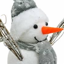 Schneemann mit Schal und Mütze Weiß, Grau Dekofigur Winterdeko