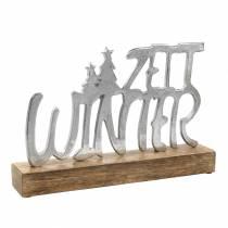 """Tischdeko """"Winterzeit"""" Metall, Mangoholz Silbern 33×22cm"""