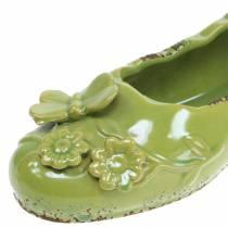 Pflanzgefäß Damenschuh Keramik Grün 24cm