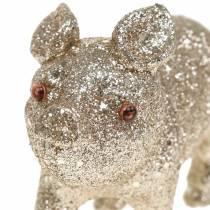 Deko Schwein Glitter Champagner 10cm 8St