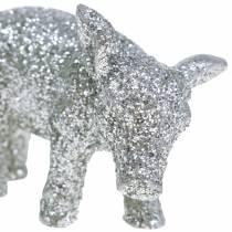 Deko Schwein Silvester-Deko Silber Glitzer 3,5cm 2St