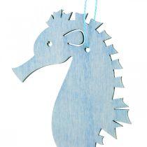 Seepferdchen zum Hängen Blau, Weiß Aufhänger Maritime Deko 8St