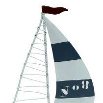 Segelboot 11cm x 19cm Weiß-Blau 3St