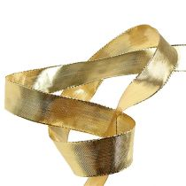 Geschenkband Gold mit Drahtkante 25mm 25m