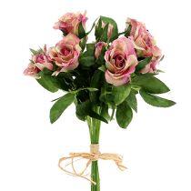 Seidenstoffblumen Rosenstrauß L26cm Altrosa 3St