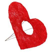 Sisalherzmanschette 25cm Rot 10St