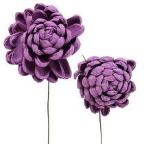 Blumen am Draht Dunkellila 8cm 12St