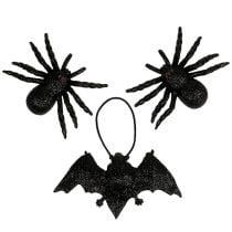 Spinne, Fledermaus Figuren Schwarz 10-14cm 3St