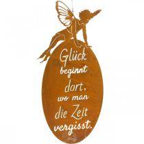 """Metallschild Schmetterlingselfe, Schild zum Hängen, Dekohänger """"Glück"""", Metalldeko Edelrost 40×19cm"""