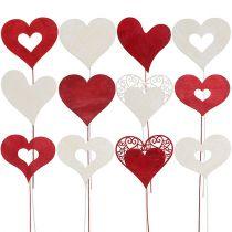 Blumenstecker Herz Rot, Weiß 7,5-8,5cm L30cm 12St