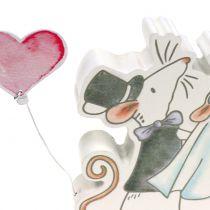 Dekofigur Mäusepaar mit Herzen 11cm x 11cm 4St