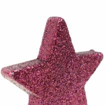Streudeko Glitterstern 6,5cm Pink 36St