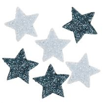 Sterne Mini 1,5cm Weiß, Blau mit Glimmer 144St