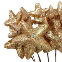 Sterne gebündelt mit Glitzer Gold 60cm 5St