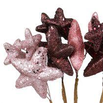 Sternenbündel mit Glitzer Rosa, Bordeaux 60cm 5St