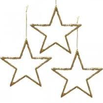 Glitzersterne, Adventsdeko, Sterndeko zum Hängen, Weihnachtsschmuck Golden 11,5×12cm 12St
