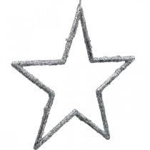 Stern zum Hängen, Christbaumschmuck, Deko Stern Silbern 11,5×12cm 12St