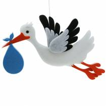 Deko Storch zum Hängen Blau 45,5cm x 39cm x 2cm
