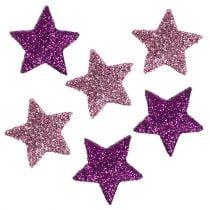 Streudeko Stern mit Glimmer 1,5cm Rosa, Lila 144St