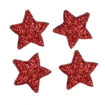 Streudeko Sterne Rot 2,5cm Glimmer 48St