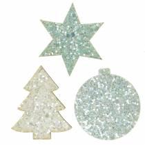 Streudeko Weihnachten Weiß/Türkis Pailletten 36St