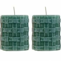 Stumpenkerzen Rustic 80/65 Grün Kerzendeko Kerze 2St