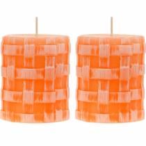 Stumpenkerzen Rustic Orange 80/65 Kerze rustikal Wachskerzen 2St