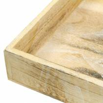 Holztablett quadratisch Weiß gewaschen 30×30cm/25×25cm 2er-Set
