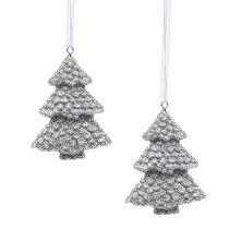 Tannenbaum Silber 6,5cm zum Hängen 6St