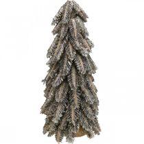 Tanne aus Kiefernzapfen, Weihnachtsdeko, Wintertanne beschneit, Weiß gewaschen H40cm Ø18cm