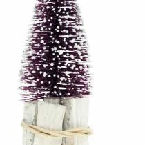 Mini-Glitzer-Tannenbaum Violett, Weiß beschneit 14cm 3St