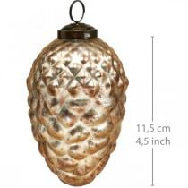 Tannenzapfen-Anhänger, Christbaumschmuck, Herbstdeko Echtglas, Antik-Optik Ø7cm H11,5cm 6St