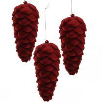 Herbstzapfen Dekohänger, Adventsschmuck, Tannenzapfen beflockt Rot H13cm Ø6cm 6S