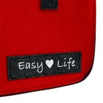 "Tasche ""Easy Life"" 39cm x 22cm x 25,5cm Rot-Grau"