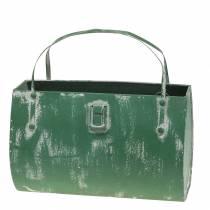 Pflanzgefäß Tasche Metall Grün, Weiß gewaschen H16cm