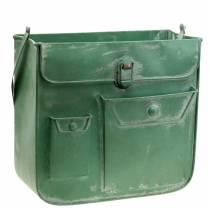 Pflanzgefäß Tasche mit Henkel Metall Grün, Weiß gewaschen H30cm