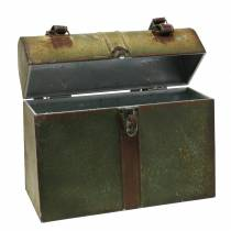 Pflanzgefäß Tasche mit Deckel und Ledergurten Metall Grau, Braun / Rost H28,5cm