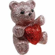 Dekostecker Bärchen mit Herz, Valentinstag, Blumenstecker Glitter 9St