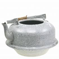 Pflanzgefäß Teekessel Zink Grau, Weiß gewaschen Ø26cm H15cm
