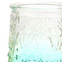 Teelichtglas Orange/Gelb/Türkis Ø8cm 3St