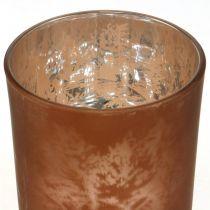Glas-Windlicht, Teelichtglas mit Blattmotiv, Herbstdeko Ø8cm H9cm 2St