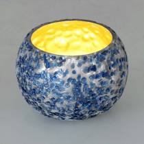 Windlicht aus Glas Silber Blau Ø8,5cm H6cm